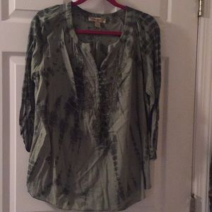 Extra large beautiful green 3/4 sleeve blouse